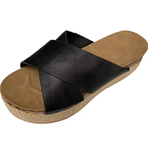 Athlefit Women's Slip On Platform Sandals Espadrille Strap Cork Wedge Sandals Size 7.5 Black Black Wedge Slip Ons