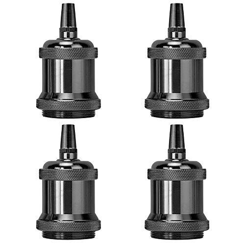 Light Socket Pearl Black E26 Vintage Pendent Lamp Holder Replacement Keyless Edison DIY Lamps Ceramic Standard Medimun Screw Base with Metal Threaded Cord Grip by UPIDLighting