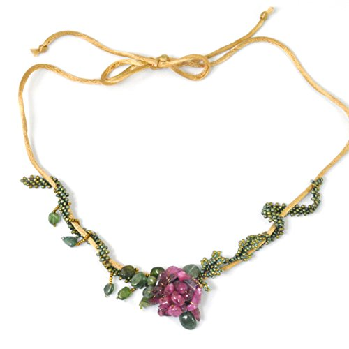 Tourmaline Rose Necklace with Adjustable Length Choker to Princess, Handcrafted One of a Kind ()