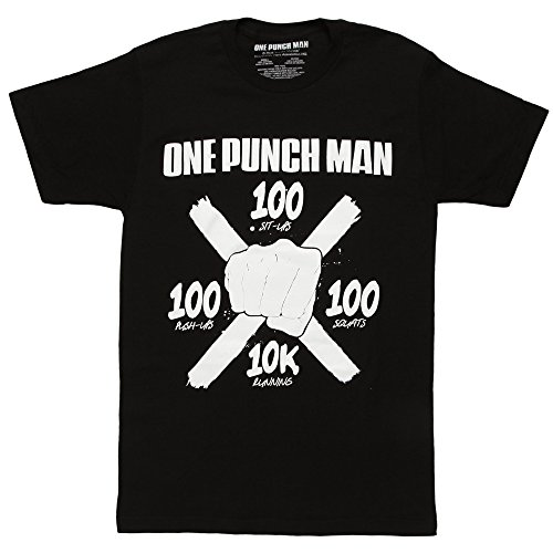 One Punch Man Bullseye Workout Adult T-shirt - Black (Medium)
