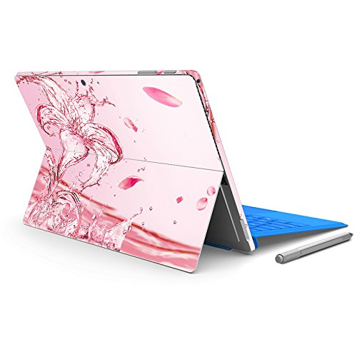 Protective Decal Sticker Cover Skin Protector for Microsoft Surface Pro 4 Pro 5 (For Microsoft Surface Pro 4 Pro 5, Decal - Lily on Water Pink) (Pink Skin Protector Case)
