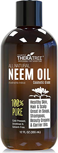 - Neem Oil Organic & Wild Crafted Pure Cold Pressed Unrefined Cosmetic Grade 12 oz for Skincare, Hair Care, and Natural Bug Repellent by Oleavine TheraTree