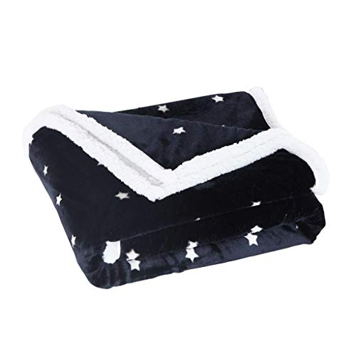 ltra Plush & Soft Fleece Sherpa Throw Blanket Fuzzy Cozy and Warm Cover for Your Bed, Couch, and Sofa, 50 x 60 Inch, Navy ()