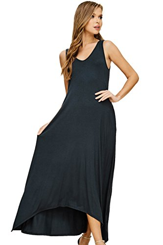 Annabelle Women's Sleeveless Tank V-Neck Solid Print Uneven Hem Maxi Dress with Side Pockets Slate Small D5291