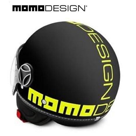 Amazon.es: Casco Momo Design Fighter. Modelo:- 2016, color negro Frost y amarillo fluorescente, talla S