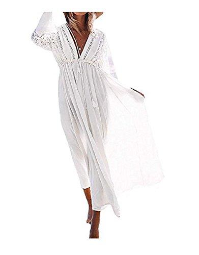 NFASHIONSO Women Bathing Suits Cover Up Ethnic Print Kaftan Beach Maxi Long Dress
