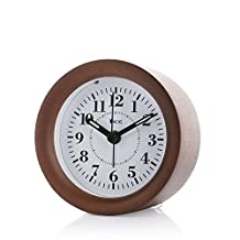 Yacig Genuine Wooden Frame Non Ticking Bedside Alarm Clock with Nightlight and Snooze/Ascending Sound Alarm - Brown
