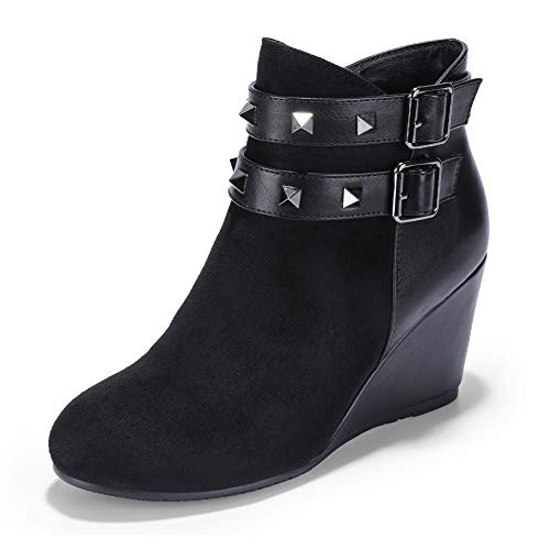 (IDIFU Women's Candice-Rivet Studded Buckle Strap Round Toe Short Boots Color Block Side Zipper Medium Wedge Heel Ankle Booties (Black, 7 M US))