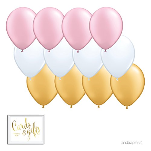 Andaz Press 11-inch Latex Balloon Trio Party Kit with Gold Cards & Gifts Sign, Blush Pink, White and Gold, 12-pk (Pink White Gold)