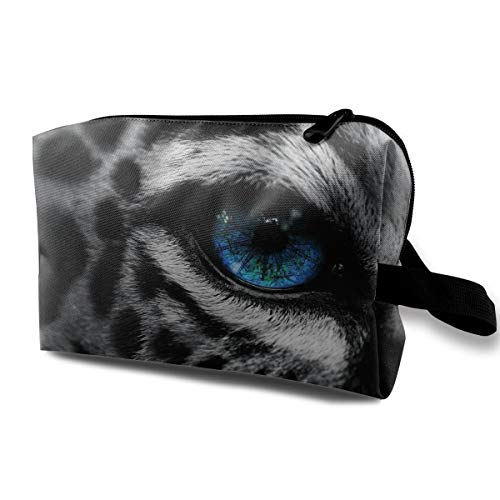 Travel Makeup Cosmetic Bag Brush Pouch Snow Leopard Eyes Zipper Pen Organizer Carry -
