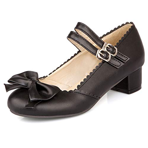 Vitalo Womens Low Block Heel Mary Jane Bow Pumps with Double Strap Size 14 B(M) US,3.5 cm Black