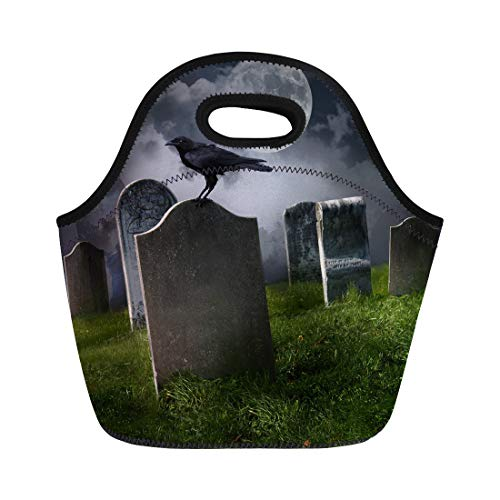 Semtomn Neoprene Lunch Tote Bag Halloween Cemetery Old Gravestones Moon and Black Raven Graveyard Reusable Cooler Bags Insulated Thermal Picnic Handbag for Travel,School,Outdoors,Work ()