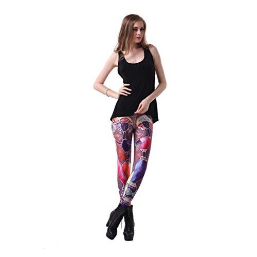 Women's 3D Pop Ancient Egypt Printed Push Up Full Length Leggings Red