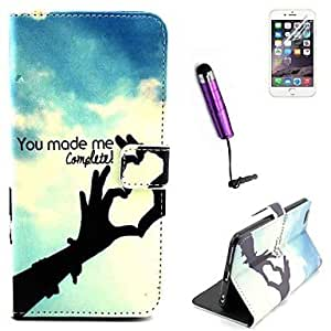 Fashionable Love You made me Complete Pattern PU Leather Full Body Cover with Card Stylus and Protective Slot for iPhone 6 Plus Mobile Cases