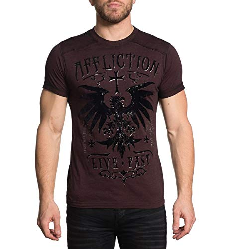 Affliction Men's Rebel Rouser Red Burn Out Short Sleeve Tee (XLarge)