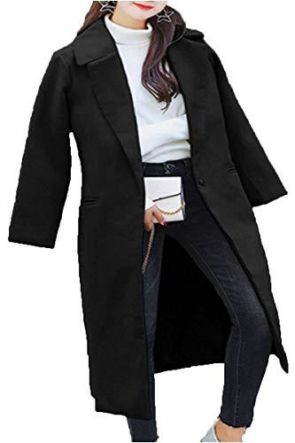 Lana Mujer Invierno Chaqueta Abrigo Casuales Largos Mujeres Larga Espesor Anchos Solapa Moda Manga Battercake Termica Elegantes Schwarz Parkas De Sólido Color H4FxWnq6f