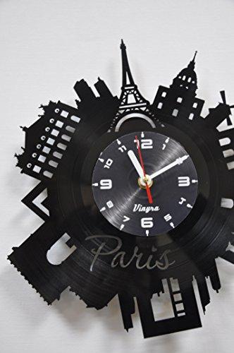 PARIS Vinyl Clock Wall Art Decor for Living Room Modern Art Birthday Gift Parisian Record Clock Eiffel Tower Home Decor Unique France Design - Paris Gift Idea Paris Wall Decor - Paris Wall Clock Black 5