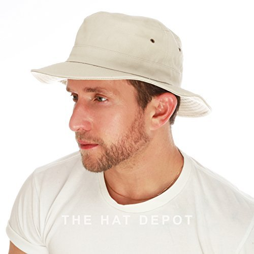 THE HAT DEPOT 100% Cotton Canvas Packable Summer Travel Bucket Hat (L/XL, Putty)