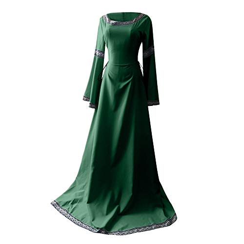 Severkill Womens Renaissance Costumes Dress Trumpet Sleeves Fancy Medieval Gothic Lace Up Dress Carnival Halloween Party Green