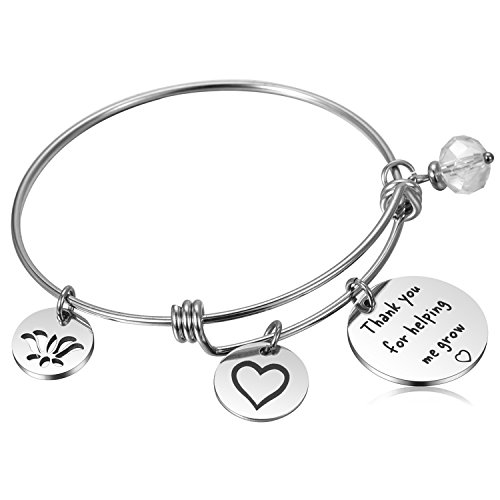 Teacher Appreciation Gifts for Women Teacher Assistant Bangle Bracelet for Teachers Thank You/Retirement/Graduation/Year End Gift - Thank You for Helping Me Grow -
