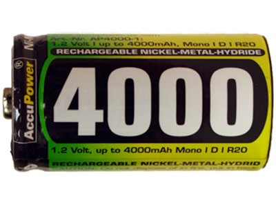 100 X D 4000 Mah Nimh Accupower Rechargeable Batteries by AccuPower