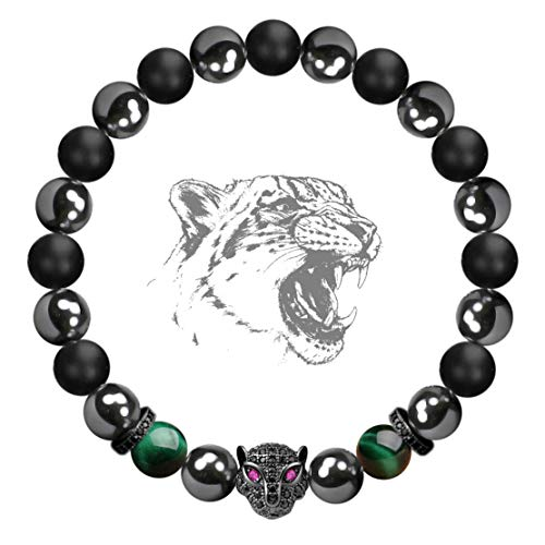 - Karseer Black Panther Anxiety Bracelet, Natural Matte Onyx Healing Crystal and Magnetic Hematite Energy Balance Stone Beaded Elastic Bracelet, Handmade Prayer Meditation Stress Relief Bracelet