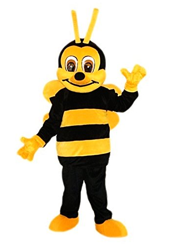 Bee Mascot Costume Adult Size Cartoon Halloween Fancy Dress Suit
