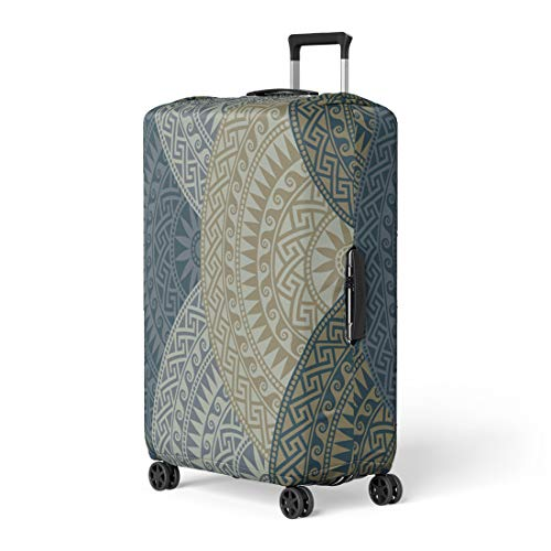 Pinbeam Luggage Cover Traditional Vintage Dark Fan Shaped Ornate Greek Patterns Travel Suitcase Cover Protector Baggage Case Fits 22-24 ()