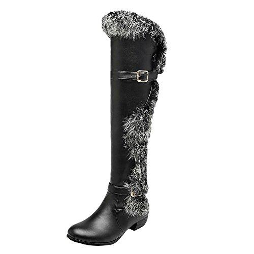 Carolbar Mujeres Faux Fur Warm Fashion Multi Hebilla De Tacón Medio Rodilla Botas De Nieve Alta Negro