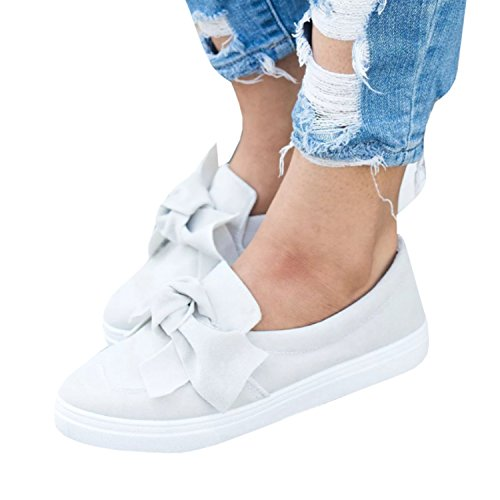 Knot Slip - Womens Bow Knot Leather Loafers Fashion Sneaker comfortable Casual Platform Flat