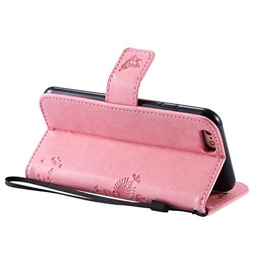 iPhone 5 / 5S / SE Schutzhülle , LH® (Rosa Pink Kontext) Schmetterling Baum Flip PU Ledertasche Ständer Schale Tasche Hülle Case Cover mit Kreditkartensteckplätze für Apple iPhone 5 / 5S / SE