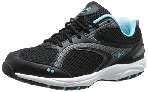 RYKA Women's Dash 2 Walking Shoe, Black/Metallic Iron Grey/Winter Blue/White, 9 M US