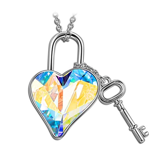 (LADY COLOUR Women Necklace Lock and Heart Necklace Swarovski Crystal Jewelry for Women Birthday Gifts for Women Teen Girls for Her Gifts for Girlfriend Wife Couple Daughter )