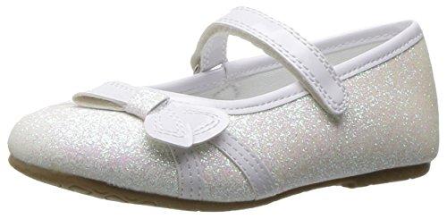 Rachel Shoes Girls' Lil Paulina Ballet Flat, White Glitter, 8 M US Toddler