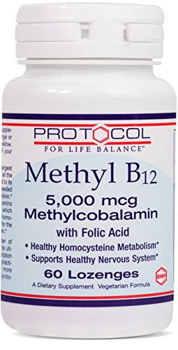 Protocol For Life Balance - Methyl B12 5,000 mcg Methylcobalamin with Folic Acid - Supports Homocysteine Metabolism and Nervous System - 60 Lozenges