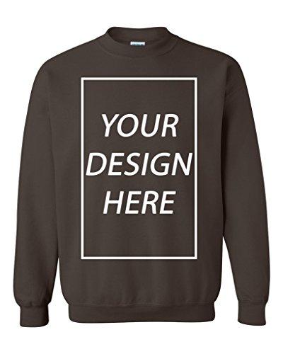 City Shirts Add Your Own Text Design Custom Personalized Crewneck Sweatshirt (Medium, Dark (Personalized Dark Chocolate)