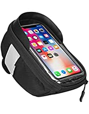 Bike Phone Front Fram Bag - Waterproof Bicycle Top Tube Cycling Phone Mount Pack Phone Case with Transparent Touch Screen Window