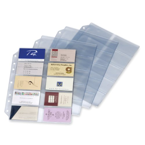 TOPS Cardinal Poly Business Card Refill Page, 10-Pack (7860 000) (Binder Refill Three Ring)