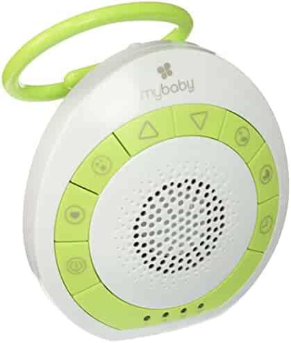 myBaby Soundspa On‐the‐Go, Plays 4 Soothing Sounds, Adjustable Volume Control, Adjustable Clip for Strollers, Diaper Bags, Car Seats, Small and Lightweight, Auto Timer, MYB‐S115