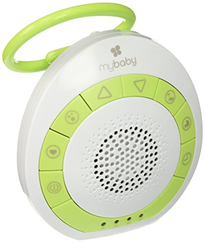 Oval Crib Set - myBaby Soundspa On‐the‐Go, Plays 4 Soothing Sounds, Adjustable Volume Control, Adjustable Clip for Strollers, Diaper Bags, Car Seats, Small and Lightweight, Auto Timer, MYB‐S115