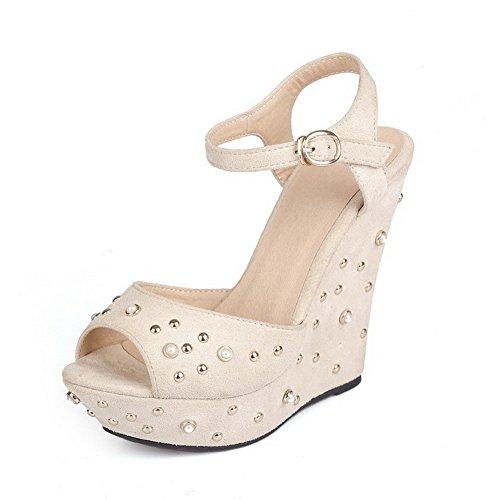 Allhqfashion Para Mujer Sólido Imitado Suede Tacones Altos Sandalias De La Hebilla Peep Toe Blanco