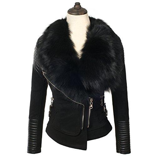 Black Leather Jacket Suede Coat (She'sModa Real Fox Fur Slim Women's Motorcycle Suede Leather Jacket Black Coat (X-Large))