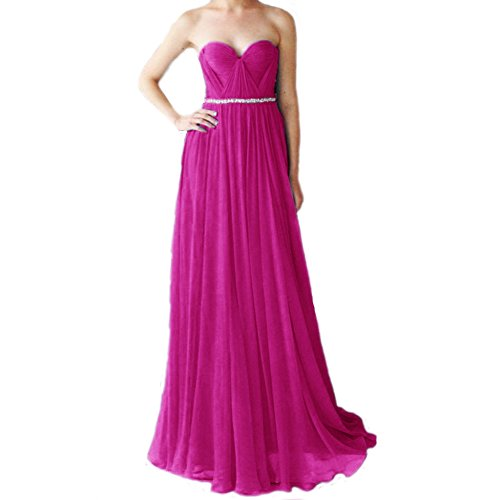 Elegant Ballkleid Festkleider Damen LuckyShe Chiffon linie Fuchsia Abendkleider Lang Silk A Zg6qfnwH