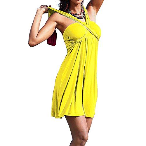 SiDiOU Giallo Group vestito dello Sexy costume spostata per esterno Gonne festa cassa pannello spiaggia le del Swimwear da Moda del donne da Vestito FrxBq4wrd