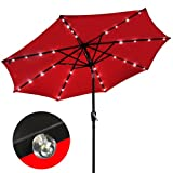 Solar Patio Umbrella Aluminum w/ LED Lights Red 9′ For Sale