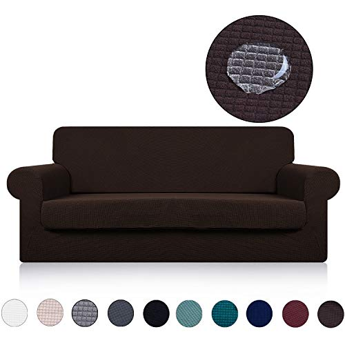 - Loveseat Cover with Separate Seat Cushion Cover(2 Pieces Set) - Water Repellent,Knitted Jacquard,High Stretch - Living Room Couch Slipcover/Protector/Shield for Dog Cat Pets(2 Seater Sofa,Chocolate)