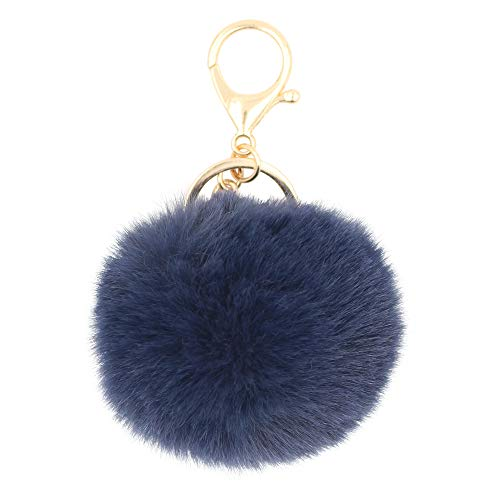 REAL SIC Pom Pom Keychain - Faux Fur Fluffy Charm For Women & Girls. Fake Rabbit Key Ring for Backpacks, Purses, Bags or Gifts - Heart Ring Puff