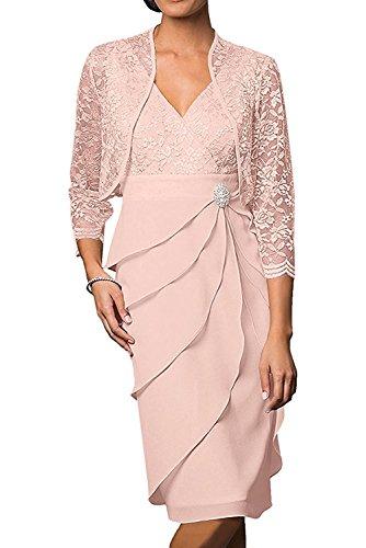Braut Abendkleider Rosa La Kurz Perlen Chiffon Brautmutterkleider Marie Elegant Cocktailkleider Etuikleider Promkleider wXUxF