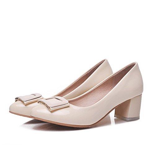 AllhqFashion Damen PU Mittler Absatz Spitz Zehe Rein Ziehen auf Pumps Schuhe, Cremefarben, 40