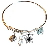 Charm (Butterfly, Flower, Paw print and More) Expandable Wire Bangle Bracelet, in the popular style, COMES IN A GIFT BOX!